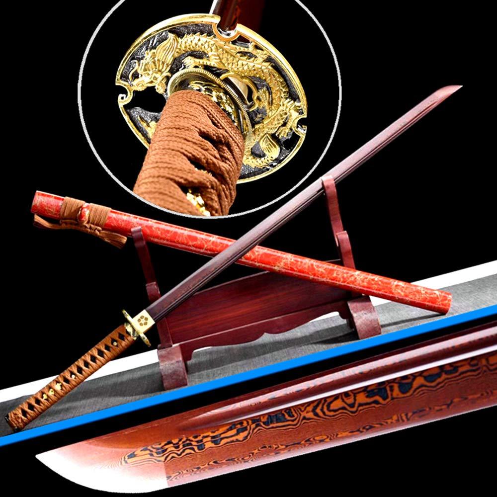 High Temperature Folded-Forging Red Damascus Steel Blade Sharp Japanese Samurai Straight Knife Saber Home Decoration Collection Real Ninja Dao Sword Katana by Generic