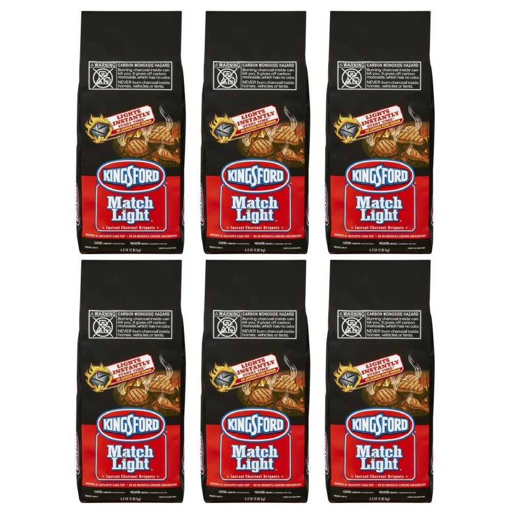Kingsford Match Light Charcoal Briquettes, 6.2 lbs, (6 pack)