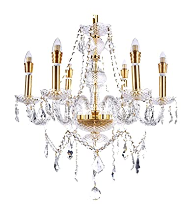 Top Lighting 6-Light Classic Style Gold Finish Crystal Chandelier Pendant Hanging Ceiling Lighting, 22 Wide