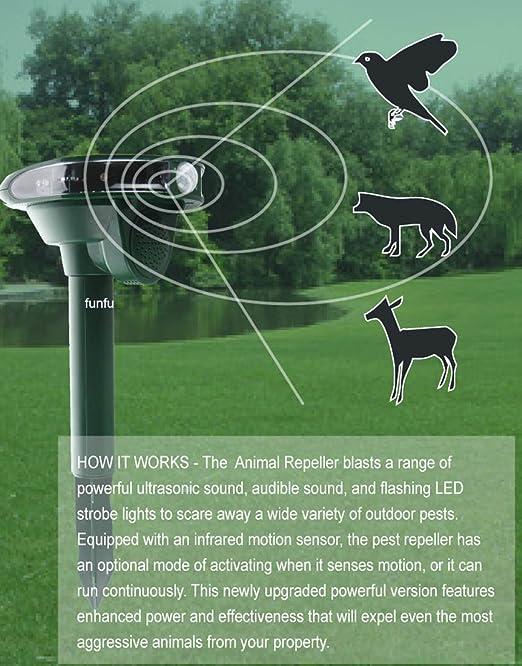 funfunfly [versión actualizada] energía Solar repelente de animales Multi LED con sensor de movimiento impermeable IPX4 repeler el perro, gato, pájaro, ...