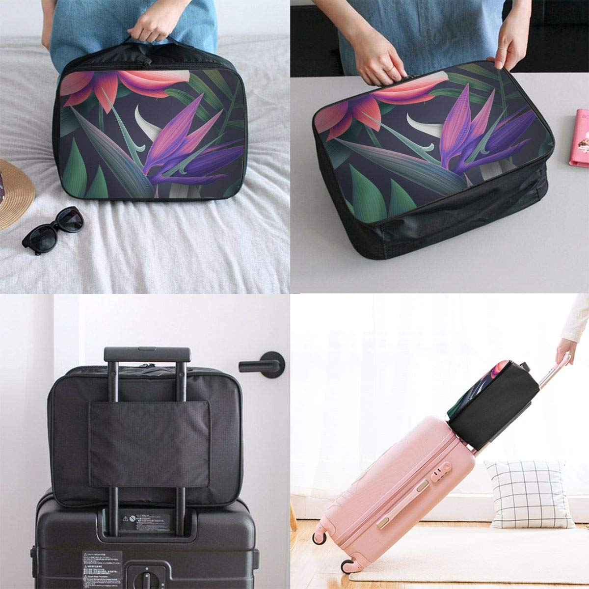 Travel Luggage Duffle Bag Lightweight Portable Handbag Floral Print Large Capacity Waterproof Foldable Storage Tote