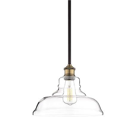 Lucera Glass Kitchen Pendant Light Antique Brass Farmhouse Hanging
