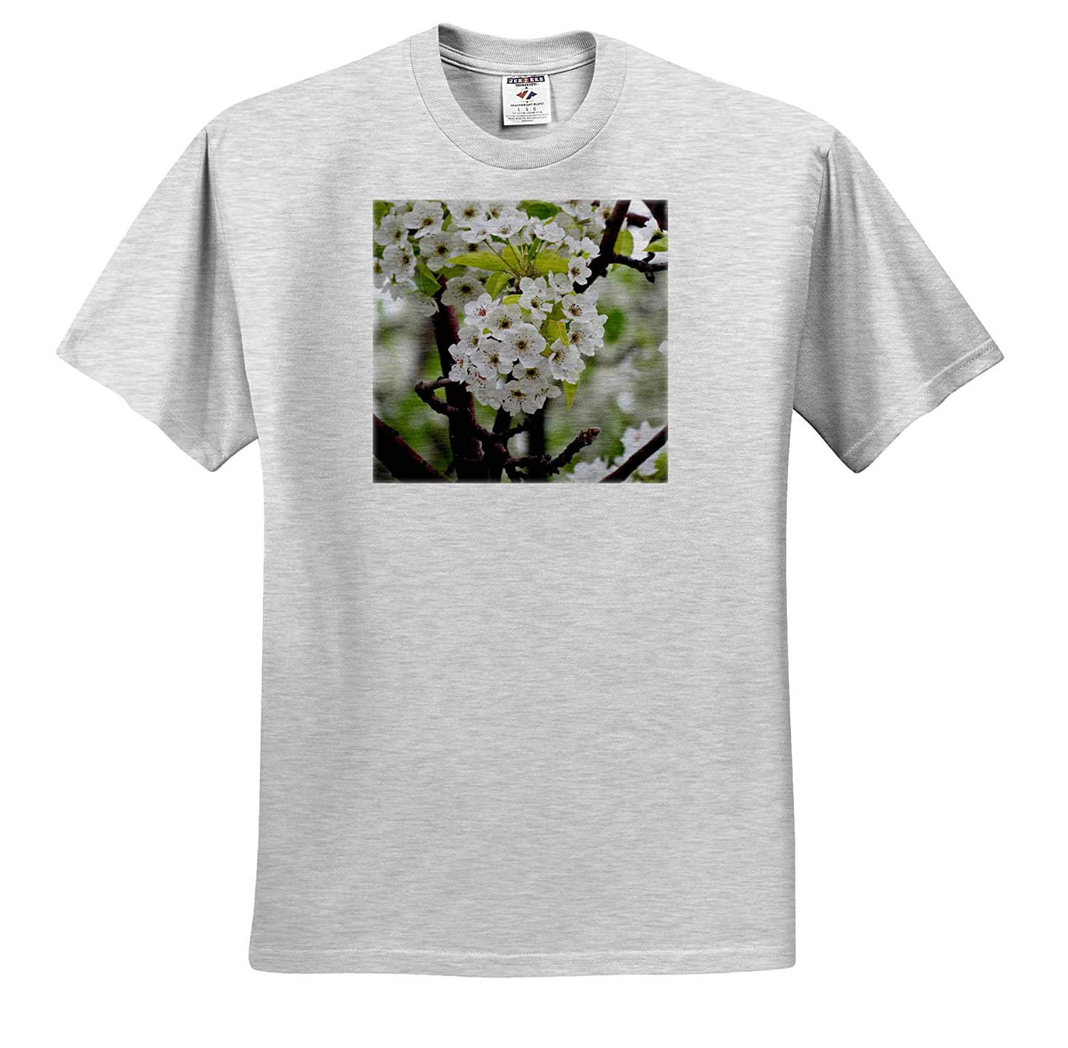 3dRose Jos Fauxtographee- Tree ts/_319580 A Blossoming Tree with White Flowers on Green Adult T-Shirt XL