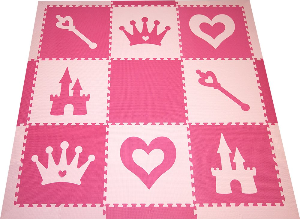 SoftTiles Kids Foam Playmat | Princess Theme | Non-Toxic Interlocking Floor Tiles for Girls' Playrooms & Baby Nursery | Light Pink and Dark Pink (6.5' x 6.5') SCPRIPC