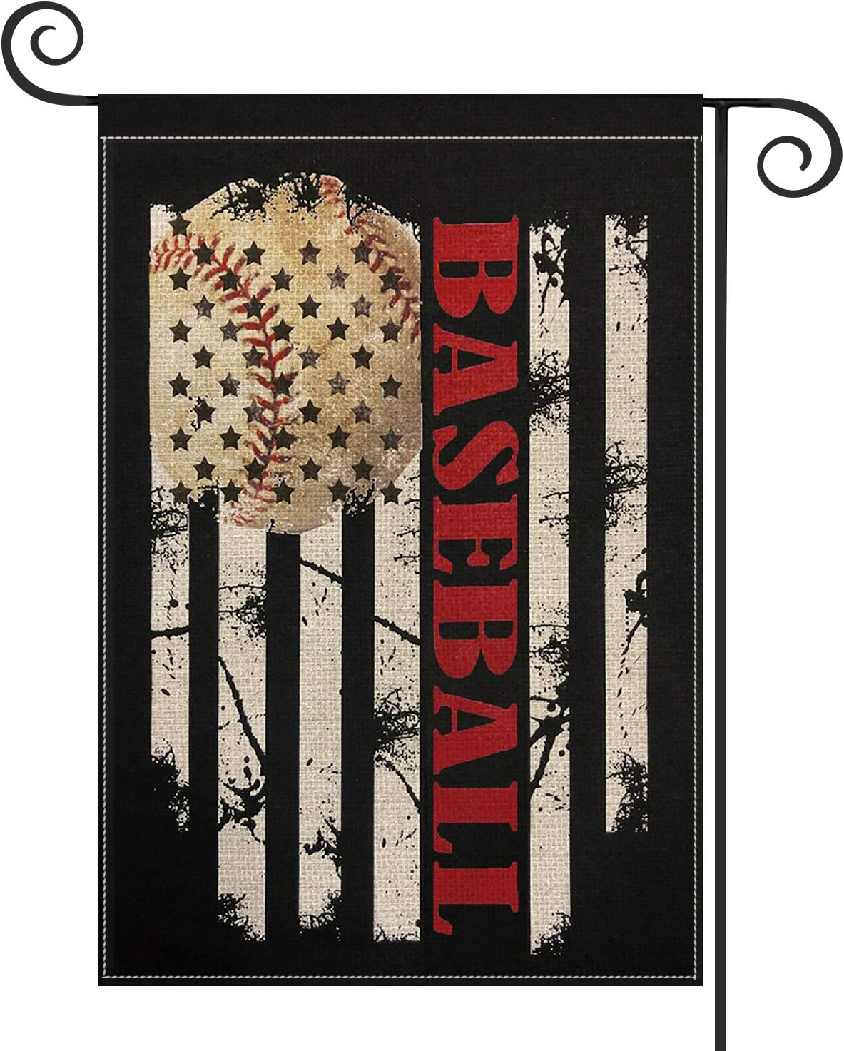 AVOIN Baseball Garden Flag Vertical Double Sided, Bat Ball Sport Rustic Stripes Flag Yard Outdoor Decoration 12.5 x 18 Inch