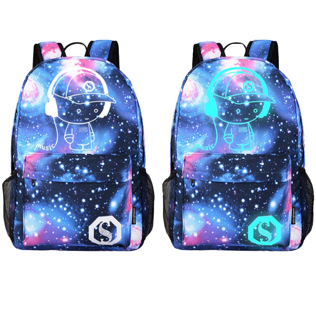 Luminous Backpack with USB Charging Port and Anti-theft Lock School Rucksack Laptop Backpack Travel Bag (Purple Galaxy Music Boy)