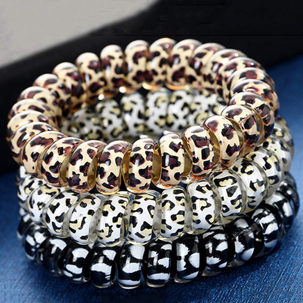 9 PCS Spiral Hair Ties Leopard Print Elastic Hair Bands No Crease Phone Cord Hair Tie Telephone Coil Hair Rings Hair Bobbles Ponytail Holder Plastic Hair Coil for Girls Women Hair Accessories