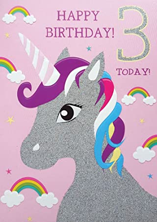 3rd Birthday Card For Girl Unicorn Rainbows Glitter Happy 3 Today