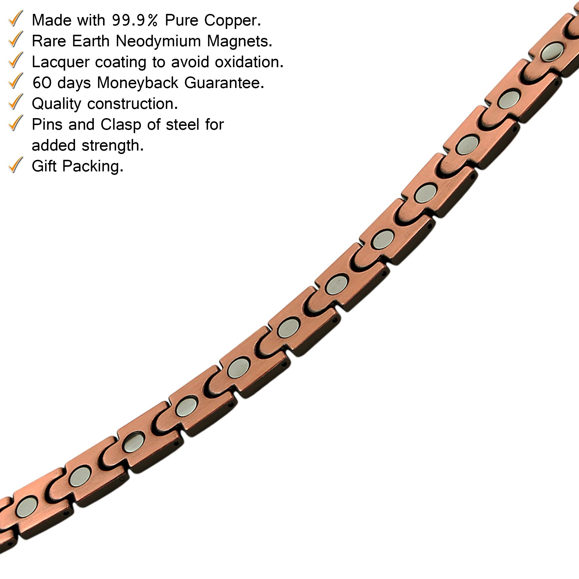 Reevaria Mens Elegant Guaranteed 99.9% Pure Copper Magnetic Therapy Bracelet Pain Relief Arthritis Carpal Tunnel, 3500 Gauss Links by Reevaria (Image #4)