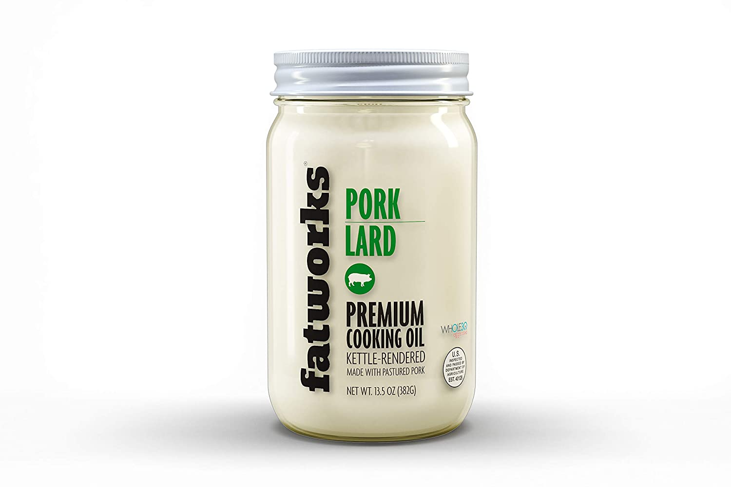 Fatworks USDA Premium Pasture Raised Pork Lard, Sourced Exclusively from U.S. Small Family Farms, WHOLE30 APPROVED, KETO, PALEO, 14 oz.