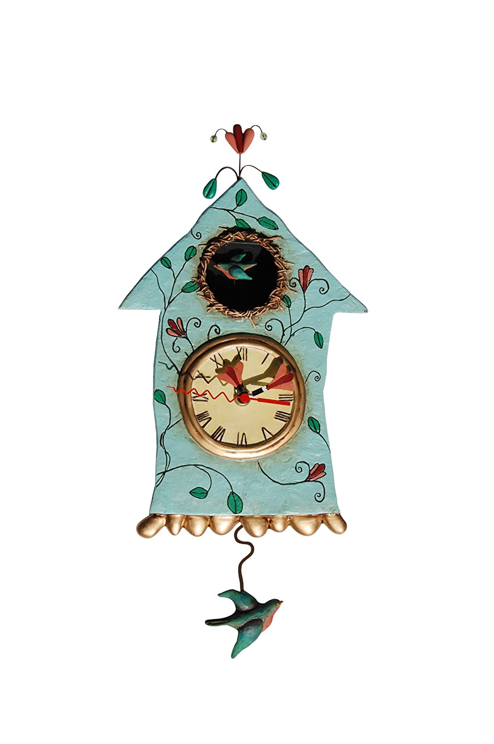 ENESCO P8008 Resin House-Shape Clock with Bird 32 cm