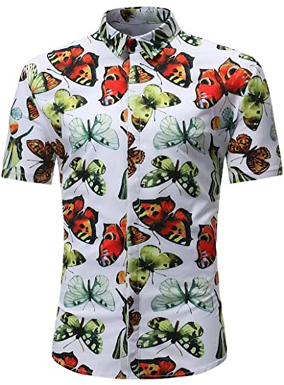 SYTX Mens Relaxed Fit Butterfly Print Short Sleeve Button Front Blouse  Shirts at Amazon Men s Clothing store  77c33e2a8