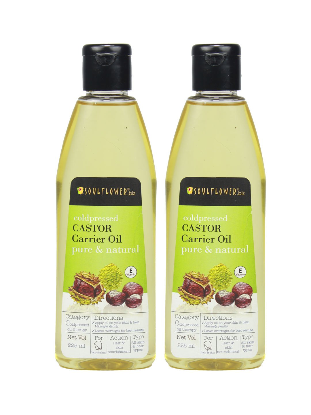Soulflower Cold Pressed Castor Hair Oil, 225 ml (Pack Of 2) product image