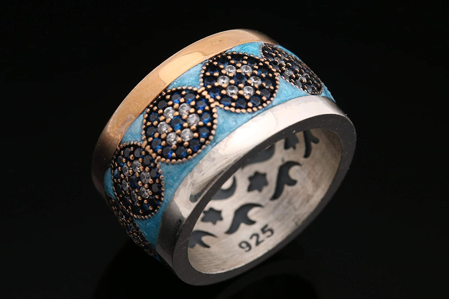 Nazar ! Turkish Handmade Blue Turquoise Color Enamel Evil Eye Sapphire Topaz Sterling Silver Ring All Sizes Available