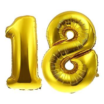 YeahiBaby Número 18 globos 100cm oro globos de cumpleaños de ...