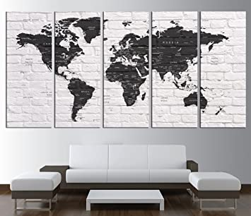 Modern World Map Canvas. World Map Push Pin  with countries canvas print push pin travel world Amazon com