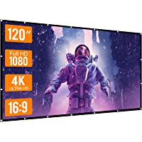 WOWOTO 120 inch Projection Screen 16:9 HD Foldable Anti-Crease Portable Projector Movies Screen for Home Theater Outdoor…
