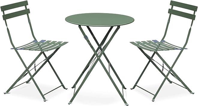Salon de Jardin bistrot Pliable Emilia Rond Vert de Gris, Table ⌀ 60cm avec  Deux chaises Pliantes, Acier thermolaqué