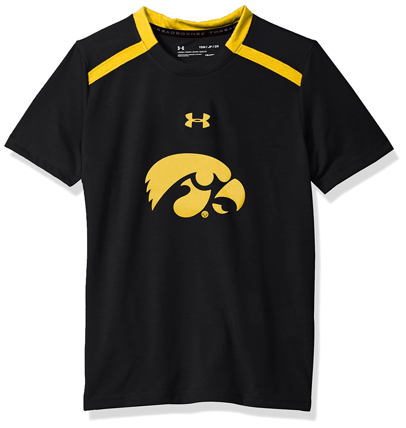 X-Large Under Armour NCAA Iowa Hawkeyes Teen-Boys NCAA Boys Short Sleeve Vented Tee Black