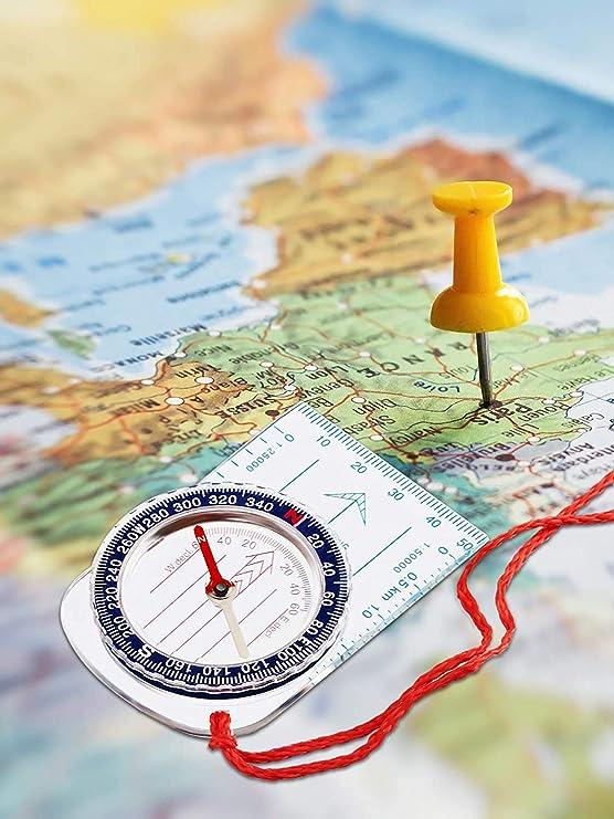 ABOAT Navigationskompass Boy Scout Kompass Orientierungskompass Kartenkompass f/ür Wandern Angeln Camping Navigation