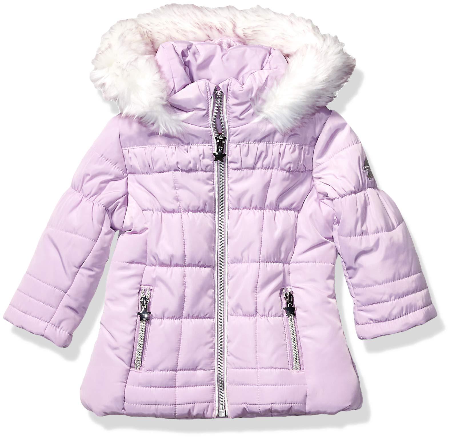 London Fog Baby Girls Matte Shimmer Satin Faux Fur Bottom and Hood Jacket, Princess Purple, 24Mo by London Fog