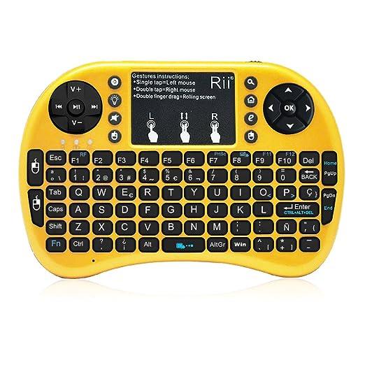 (Novedad 2015, con Luz de fondo) Rii mini i8+ Mini teclado ergonómico con ratón tipo touchpad incorporado. Compatible con SmartTV, Mini PC, Android, PS3, ...