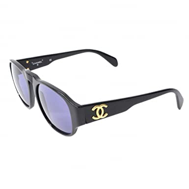 d61df8cfc2ec99 シャネル CHANEL ココマーク ヴィンテージ サングラス プラスチック ブラック 黒 ゴールド金具 01452 中古