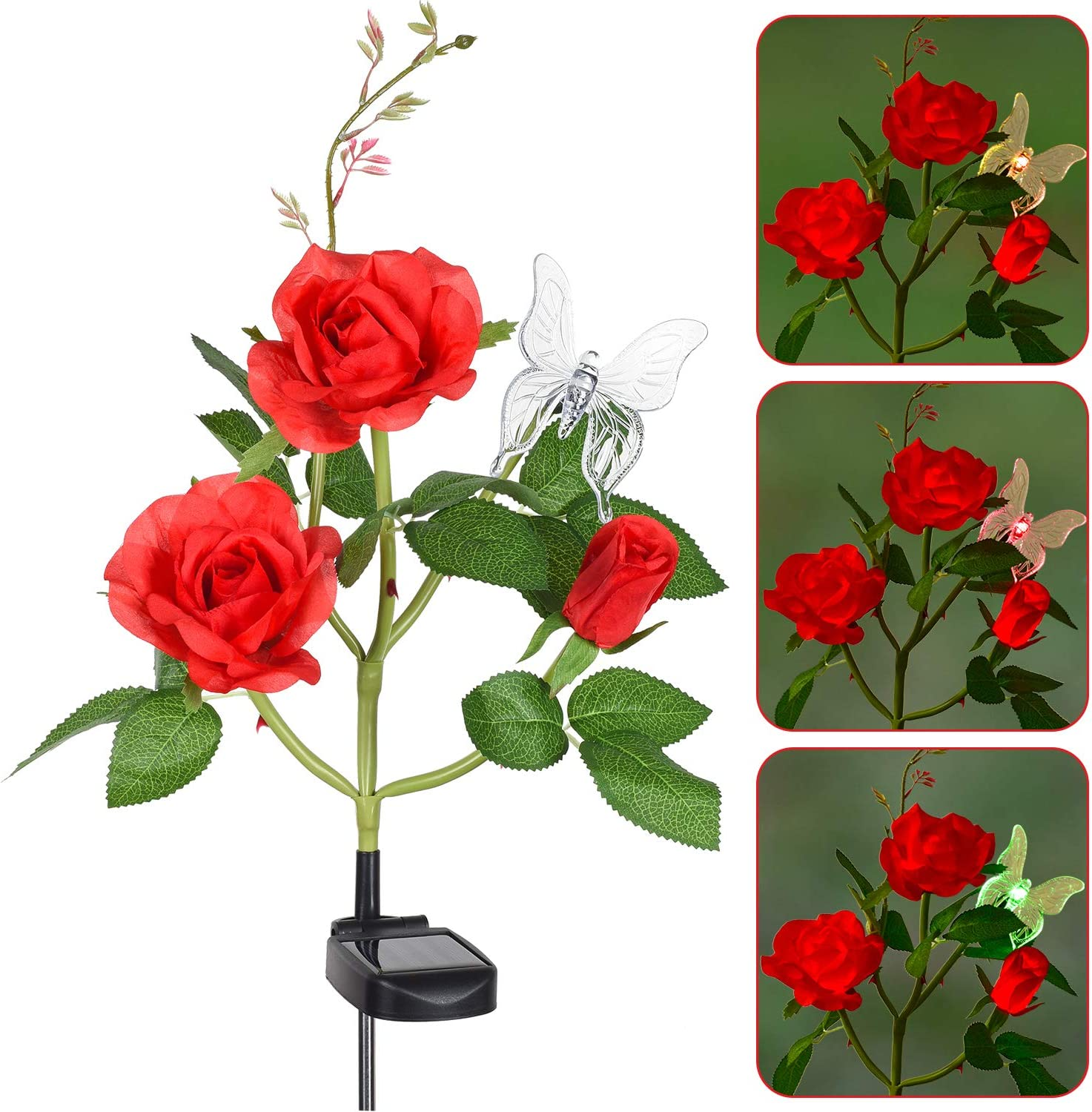 Doingart Outdoor Flower Garden Lights - Solar Powered Artificial Rose Flower Stake with Butterfly Color Changing Lights for Garden Patio Flowerbed Decoration (Red)