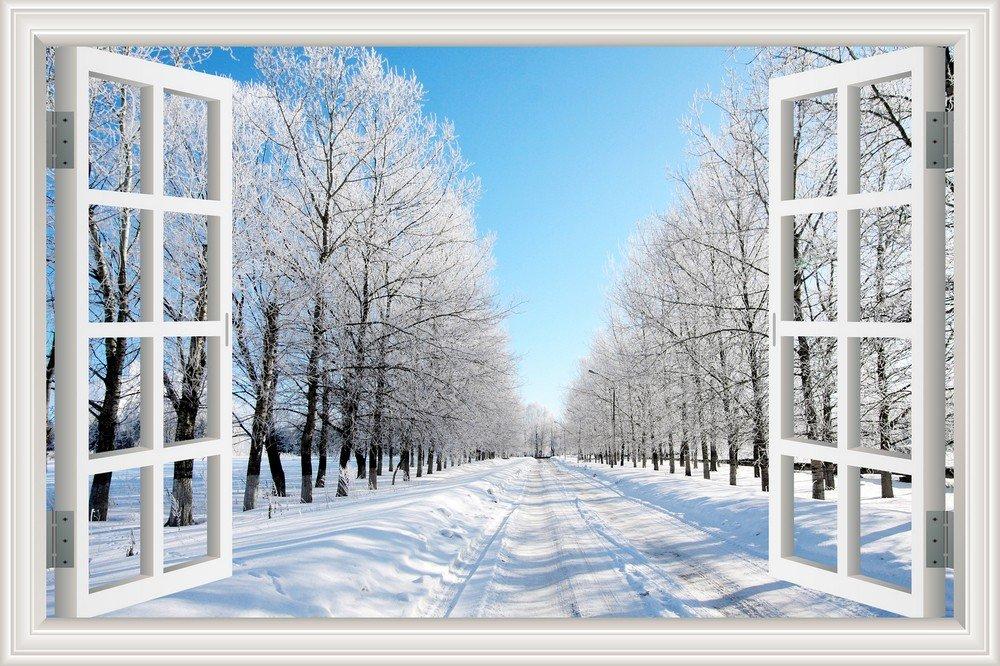 3D Window Scenery Wall Sticker Snow Road Winter Forest Landscape Wallpaper Vinyl Decal 20'X28' ASENART