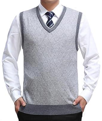 af7d990e979b6f DD UP Herren V-Ausschnitt Business Argyle Muster Pullunder Weste Grey,Gr.S