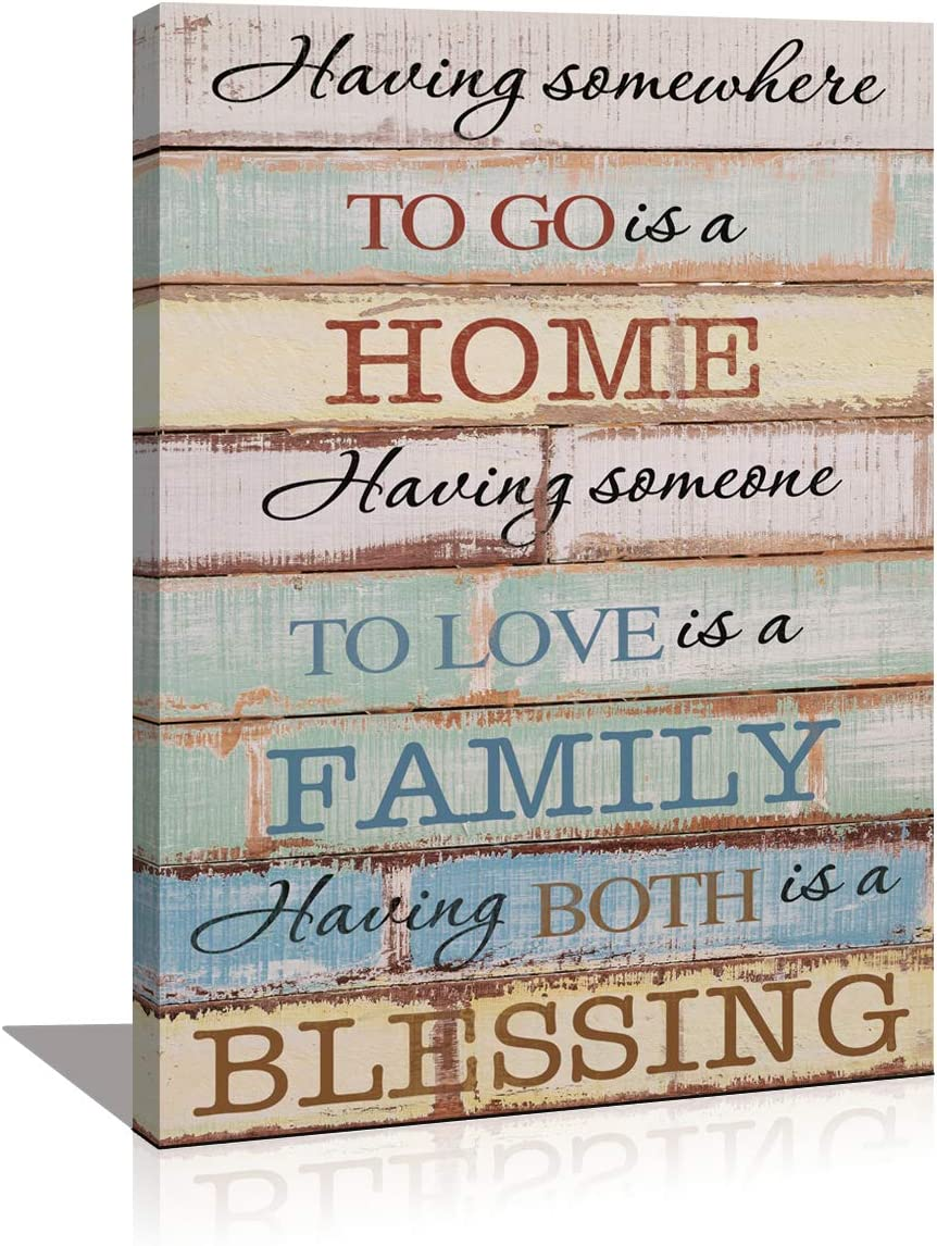 Wall Art Painting Quote Bedroom Decoration Family Home Blessing Motto Framed Canvas Prints Picture Modern Artwork for Living Room Home Kitchen Wall Decor