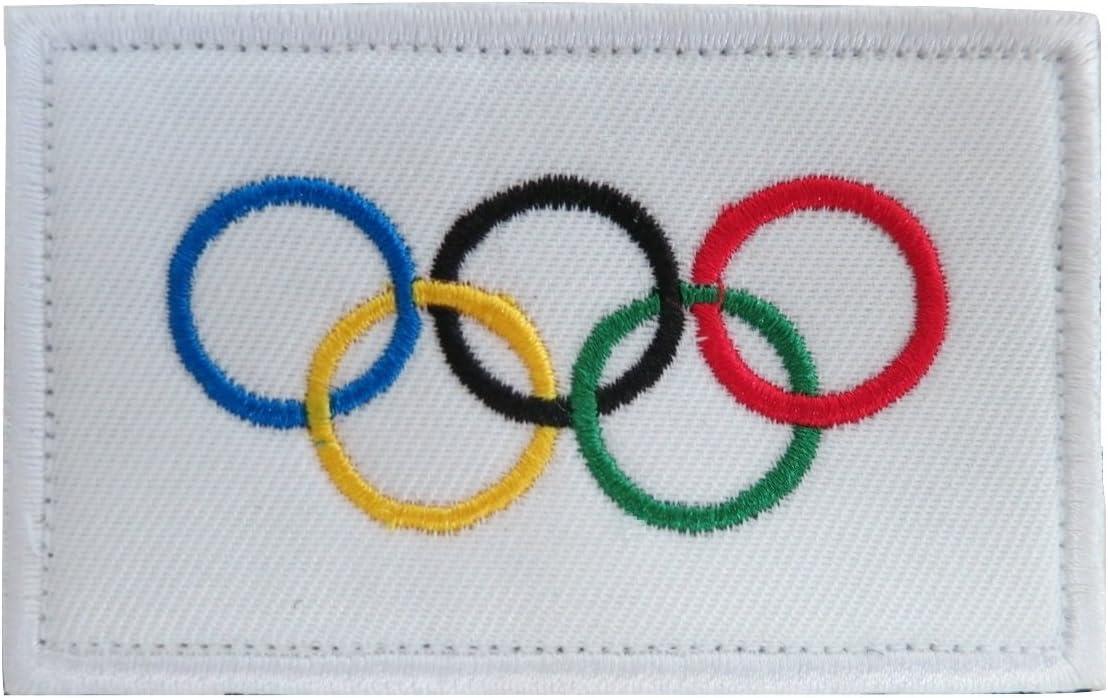 Juegos Olímpicos Anillos Olímpicos de la bandera internacional bandera bordado Velcro Patch por trendyluz: Amazon.es: Juguetes y juegos
