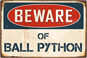 "StickerPirate Beware of Ball Python 8"" x 12"" Vintage Aluminum Retro Metal Sign VS035"