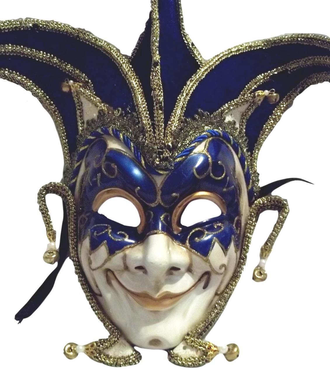 MGPS Jester Stick Mask Blue Decorate or Wear Mardi Gras Masquerade Mask Wall Hanging