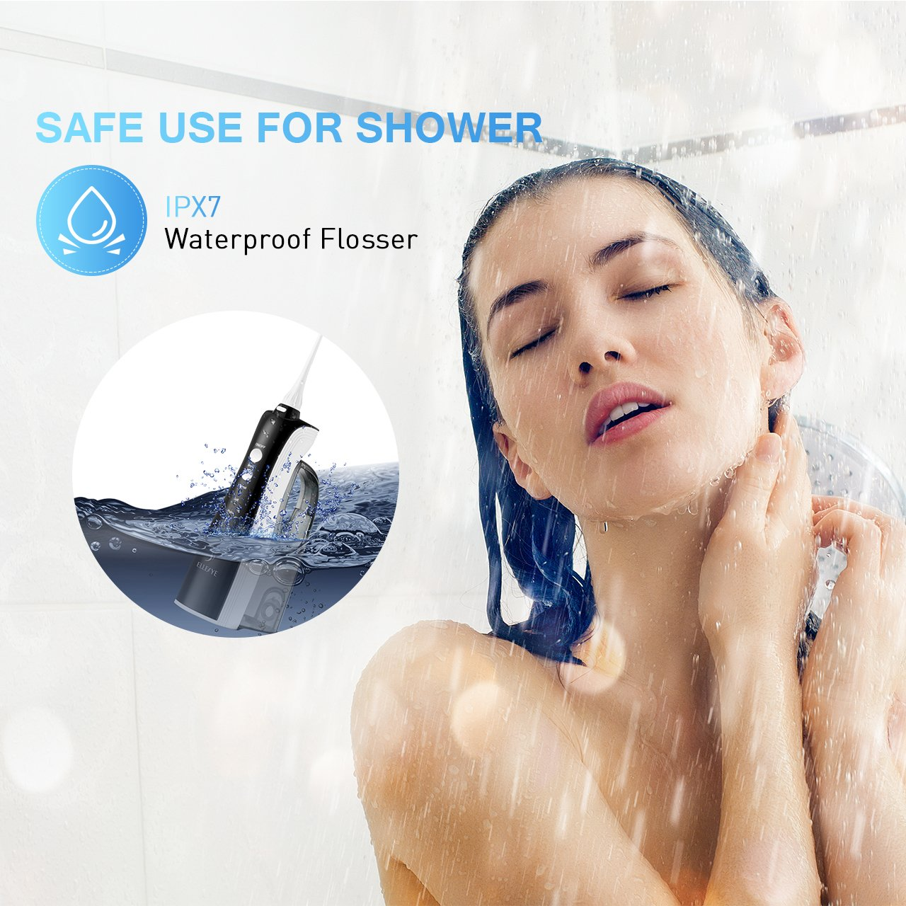 [UPGRADED] 330ML Cordless Water Flosser Teeth Cleaner, ELLESYE High Pulse Rechargeable Portable Oral Irrigator for Travel & Office Use, IPX7 Waterproof Dental Flosser for Shower with 2 Tips for Family by ELLESYE (Image #6)