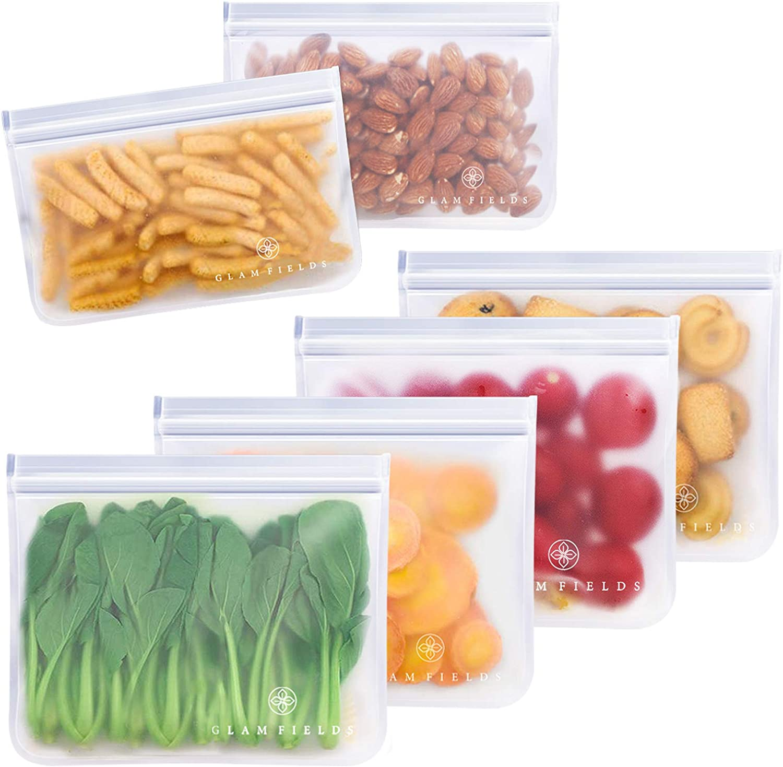 GLAMFIELDS Reusable Sandwich Bags - 6pack reusable food storage bags - Glamfields BPA Free Leak-proof Snacks Bags for kids Adult Lunch | Freezer | Fruit | Travel