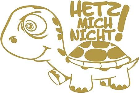 Folistick Hetz Mich Nicht Turtle Aufkleber Schildkröte Autoaufkleber 24x16 Cm Ausführung Links Gold Auto