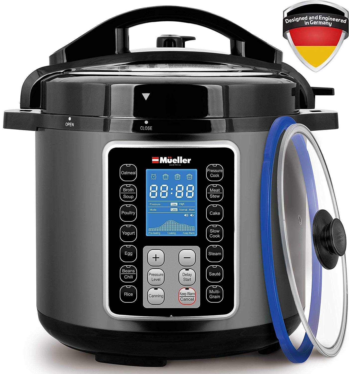 Mueller UltraPot 10-in-1 Pro Series 6Q Pressure Cooker with German ThermaV Tech, Cook 2 Dishes at Once, Bonus Tempered Glass Lid incl, Saute, Steamer, Slow, Rice, Yogurt, Maker, Sterilizer (Graphite) Mueller Austria