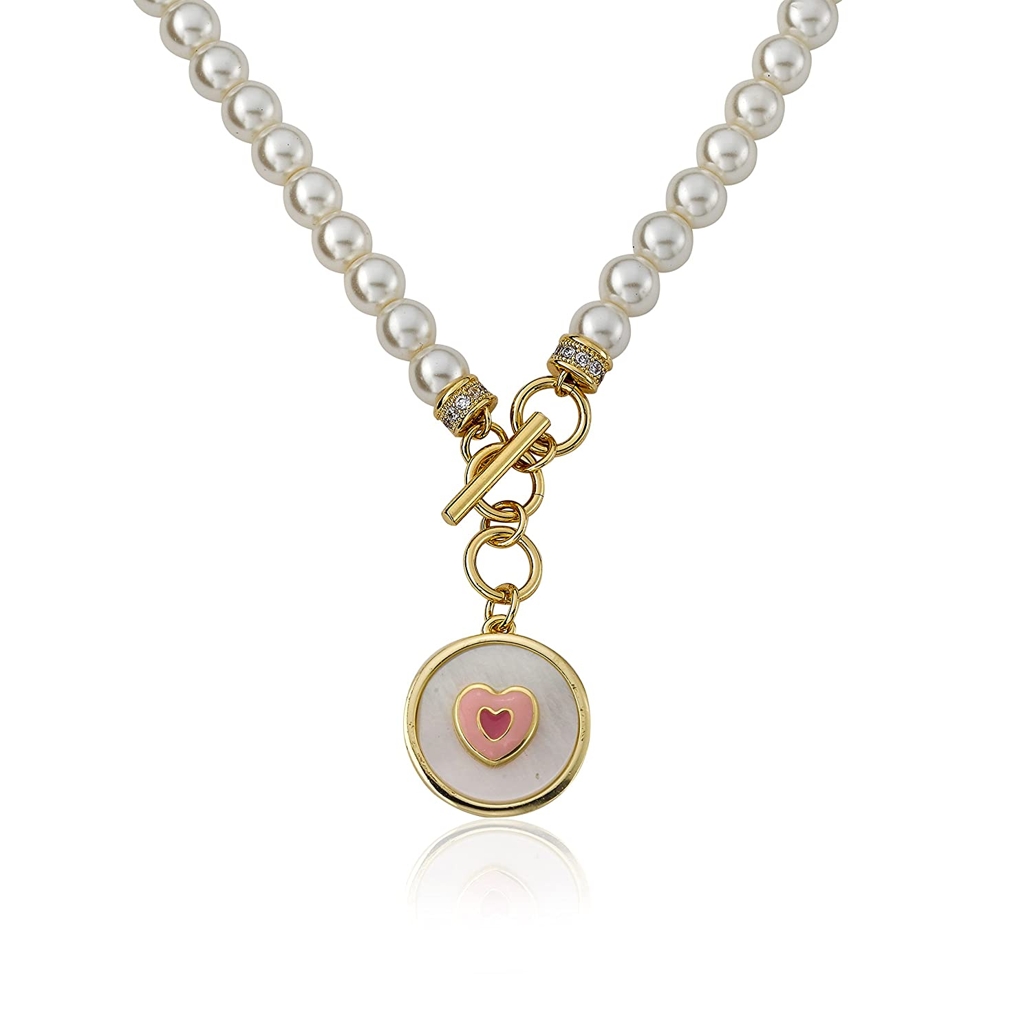 Little Miss Twin Stars Little Miss Flower Girl 14k Gold-Plated Fresh Water Pearl Necklace Accented With Enamel Heart In Mother Of Pearl Charm Dangle// 14//1