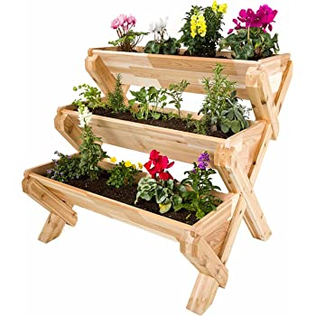 Amazon Com Cedarcraft Cascading Garden Planter 3 Tier