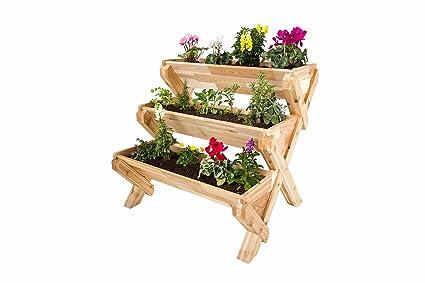 CedarCraft Cascading Garden Planter   3 Tier Vertical Garden   Grow Fresh  Vegetables, Herb Gardens