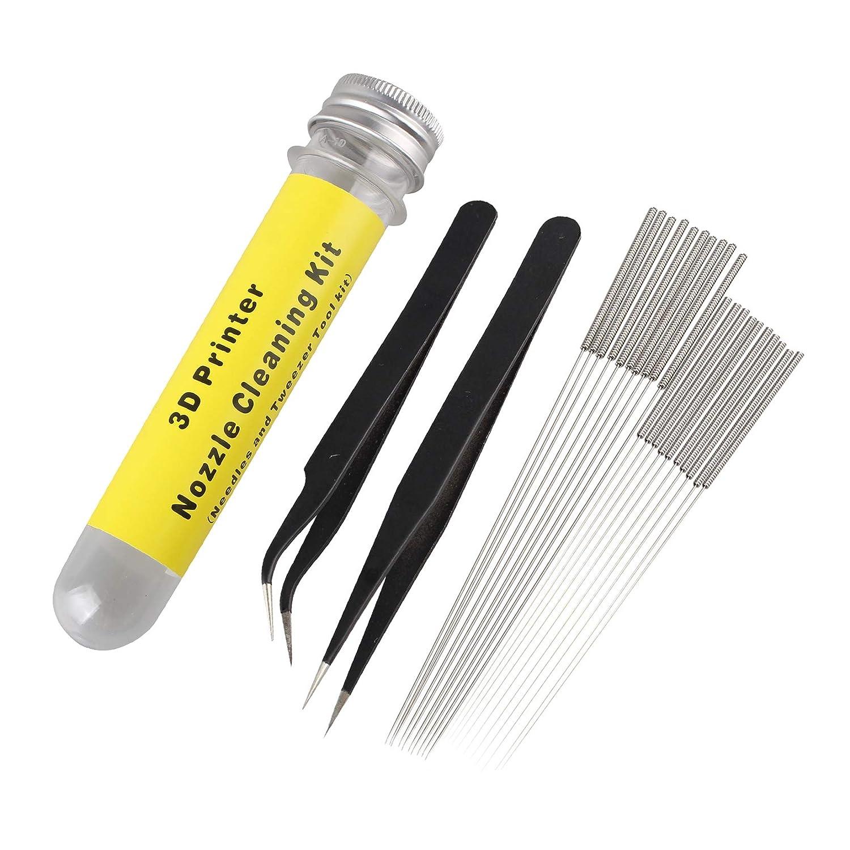 10 agujas de 0,35 mm y 1 pinza angular Kit de limpieza de boquillas de impresora 3D de acero inoxidable incluye 10 agujas de 0,4 mm juego de 22 1 pinza recta para impresora 3D