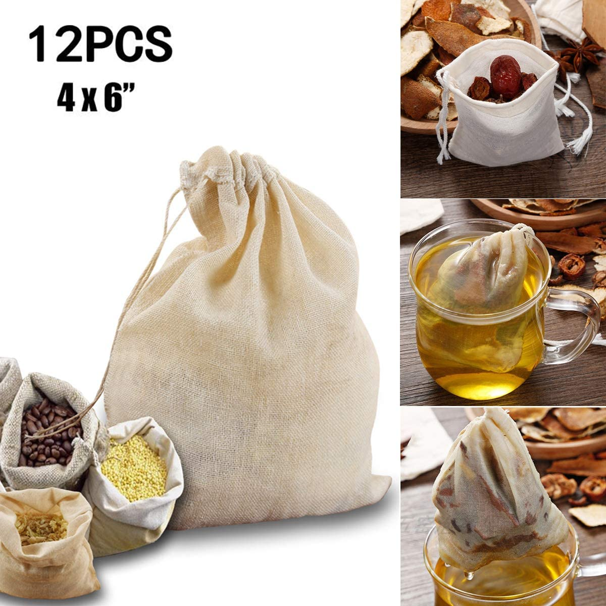 Awinking 12 Packs Reusable Drawstring Cotton Soup Bags, Washable Cheesecloth Bags for Straining Soup, Herbs, Bone Broth, Coffee, Tea (4'' x 6'')