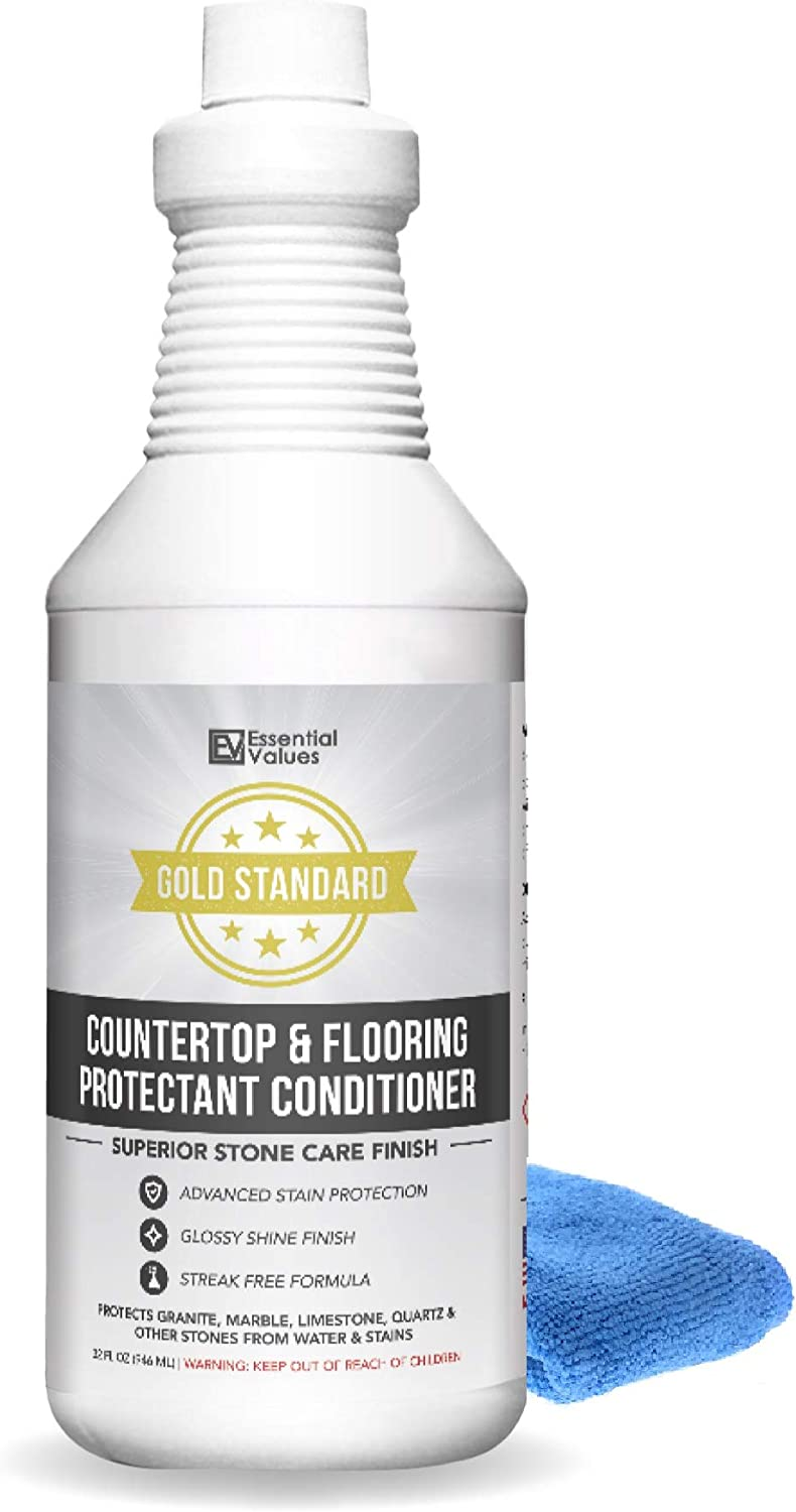 Granite Sealer & Conditioner + Micro Fiber (1 QUART), Superior Stone Care Finish – Works Best For Sealing Countertops & Flooring, For Use On Granite, Marble, Tile, Quartz & More By Essential Values