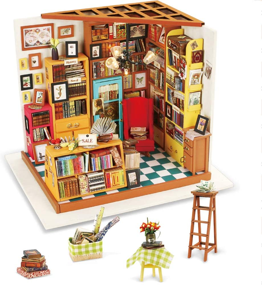 Rolife Bookstore Dollhouse Miniature DIY Kit with LED Christams Gift for Girls