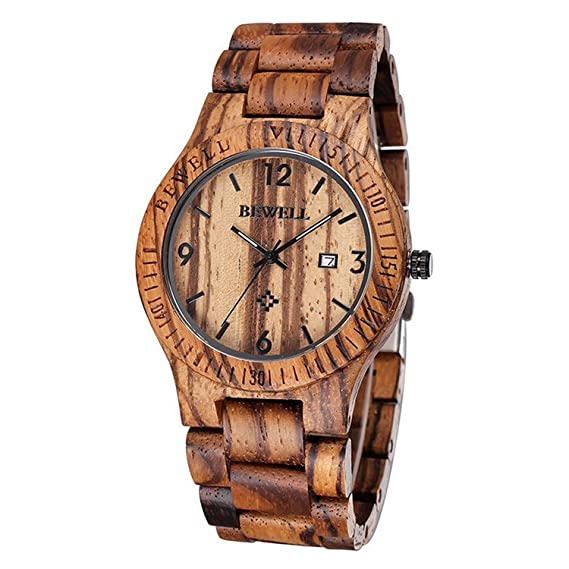 Reloj de madera Cálido, Cómodo y Hecho a mano, madera de zebrano 100% Natural: Amazon.es: Relojes