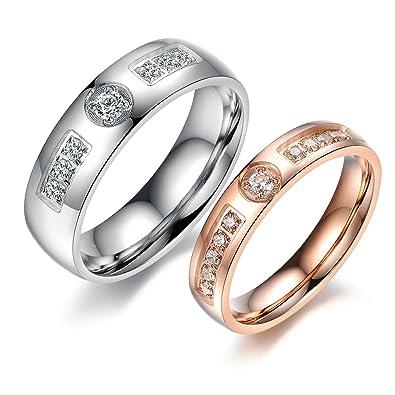 9156991d3028 Daesar 1 Paar Ringe Edelstahl Partnerringe Eheringe Trauringe Herren Ringe  Zirkonia Silber Ringe Herren Größe 60