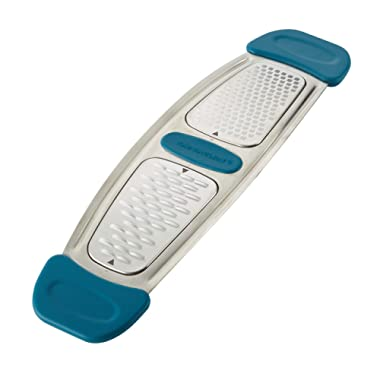 Rachael Ray Stainless Steel Multi-Grater with Silicone Handles, Marine Blue, Small - 46913
