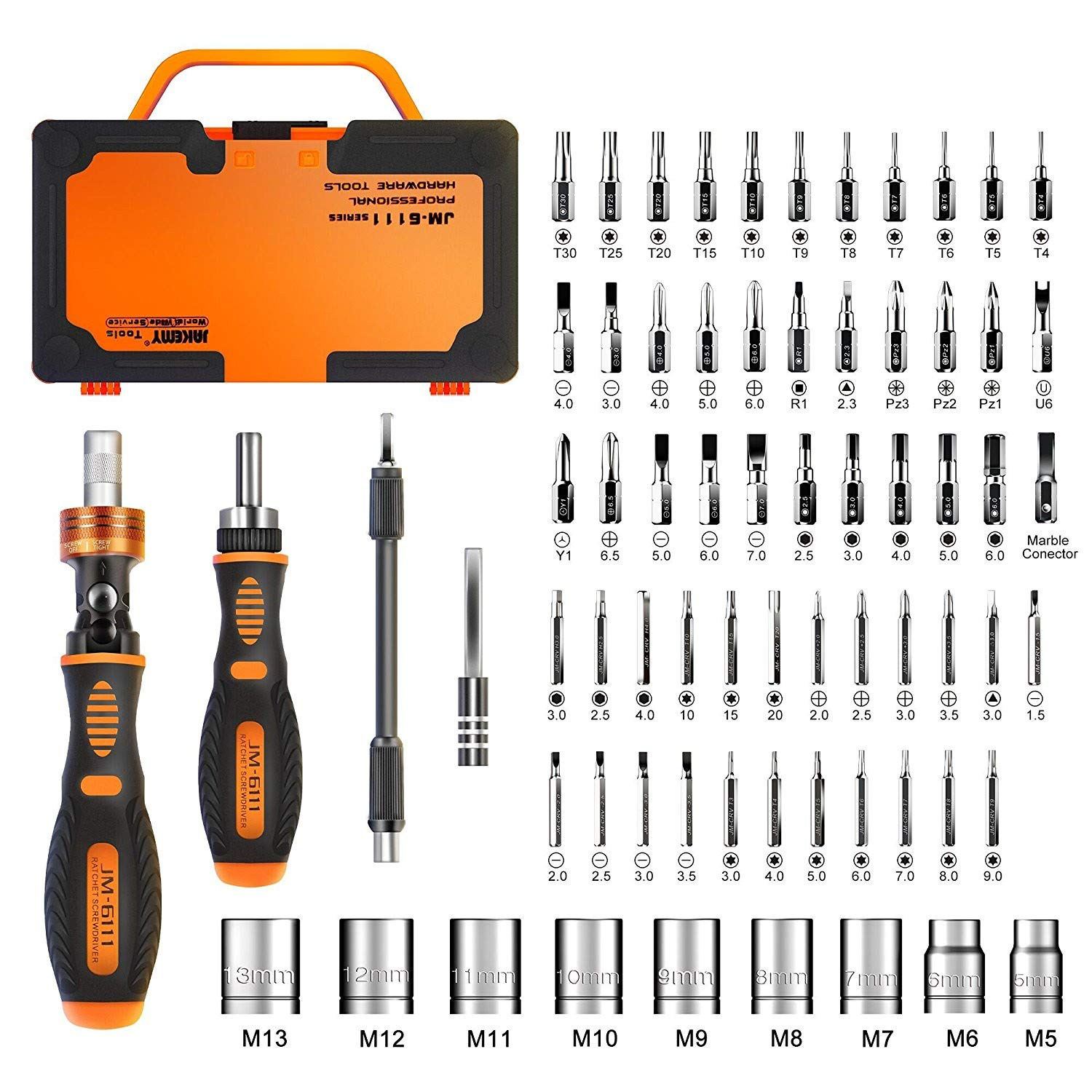 Jakemy Home Rotatable Ratchet Screwdriver Set, 69 in 1 Household Repair Toolkit, Disassemble Magnetic Kit for Furniture/Car/Computer/Electronics Maintenance by JAKEMY