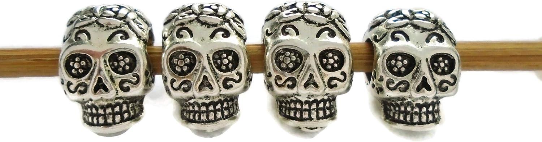 Sugar Skull Beads Día de Muertos Large Big Hole Euro Bead Paracord Bracelet DIY